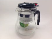 Piao Yi Glass Tea Pot Easy Push Button Strainer Glass Tea Pot Large Size 1200ml /32oz Family Size with Lock