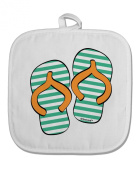 TooLoud Striped Flip Flops - Teal and Orange White Fabric Pot Holder Hot Pad