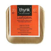Leafplates - Palm Leaf Plates - 15cm Square - All Natural, Super Eco-friendly and 100% Compostable - Made From Fallen Palm Leaves - Party Perfect Disposable Dinnerware - 20 Count