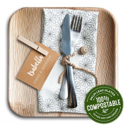 Leafplates - Palm Leaf Plates - 24cm Square - All Natural, Super Eco-friendly and 100% Compostable - Made From Fallen Palm Leaves - Party Perfect Disposable Dinnerware - 20 Count