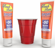 Party Ready Hidden Sunscreen Alcohol Flask Includes 2 Flasks Great For Men and Women Looking To Take Liquor To Sporting Events, On a Cruise, or Glass Restricted Areas