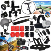 Xtech® GOPRO Hero RACING ACCESSORIES Kit for GoPro Hero 4 3+ 3 2 1 Hero4 Hero3 Hero2, Hero 4 Silver, Hero 4 Black, Hero 3+ Hero3+ and for Bike riding, Biking, Cycling, Racing, Dirt Bikes, Dirt Track Racing, Motorcycle Racing, Rallying, Uni-Cycli ..