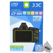 JW LCP-EM5 2 Kits Guard Film Digital Camera LCD Display Screen Protector Cover For Olympus OM-D E-M5 + JW emall Micro Fibre Cleaning Cloth