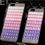 iPhone 6 Case, iPhone 6 12cm Case,Inspirationc® 3D Shiny Colour Blocked Cubes Rhinestone Crystal Diamond Luxury Bling Premium Protective Shell Phone Back Cover Case for Apple iPhone 6 12cm --Purple