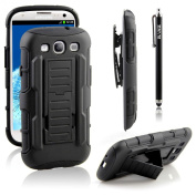 Galaxy S3 Case, RANZ® BLACK Rugged Impact Armour Hybrid Kickstand Cover with Belt Clip Holster Case For Samsung Galaxy S3 III i9300 + Touch Stylus
