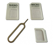 Techno Earth Nano to Micro & Standard Sim cards adaptor for iPhone 5 5S 6 4S 4 + Tray Opener