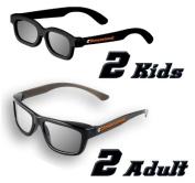 ED Family 4 Pack CINEMA 3D GLASSES KIT for LG 3D TVs - 2 Adult and 2 Kids Passive Circular Polarised 3D Glasses