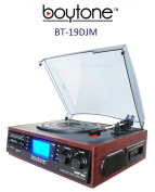boytone BT-19DJM, 3-Speed Stereo Turntable - 33/45/78 RPM with AM , FM Stereo Receiver w/2 built-in speakers /Cassette/Aux-In/USB/SD/MP3 and Vinyl to MP3 Encoding and remote control