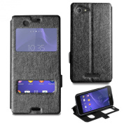 For Sony Xperia E3 Stylish Slim Window Wallet Flip Stand Case Magnetic Cover & Screen Protector & Polishing Cloth