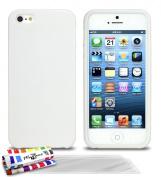 "Muzzano ORIGINAL Ultra-Slim Flexible ""Le Cover White Glossy"" Hybrid Case for IPHONE 5S - 3 Screen Protector Films Ultra-Clear"