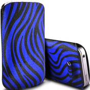 Blue Zebra PU Leather Zebra Pull Tab Pouch Cover Case for Doro Phone Easy 508 by Digi Pig