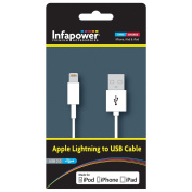 Infapower 1m Apple Lightning to USB 2.0 Cable for iPod/iPhone/iPad - White