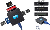 High Speed - All in One USB 3.0 Card Reader / Writer - Compatible with SD, SDHC, SDXC, Micro SD, TF, CF, XD, M2 and Sony Memory Stick Pro Duo Card - For Sony, Panasonic, Canon, Fujifilm, Olympus, Pentax, Kodak, JVC, Minolta, for  for  for  for  for Samsun