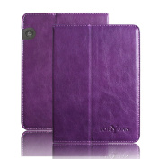 Boriyuan® Kindle Voyage Magnetic Natural Hide Leather Case With Stand Auto Sleep and Wake Feature Function Case Ultra Slim Cover for Kindle Voyage