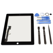 LL TRADER Touch Screen For Black iPad 3/4 (3rd/4th Generation) Digitizer Front Panel Glass Replacement with Tools and Adhesive