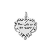 Sterling Silver Daughter in Law Heart Charm - Item #51536