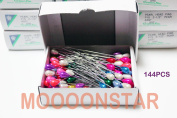 144 PCS Pearl Head Pins Colourized Pearl Corsage Crown Fox Made in Japan