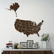 Wall Decals World Map USA United States of America Continents Countries Vinyl Sticker Home Decor Living Children's Room Stady Office ML166
