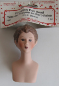 Fibre Craft PACK of 1 PORCELAIN LADY DOLL HEAD 7.6cm - 0.6cm (Head Top to End Chest Plate) w Moulded BROWN HAIR