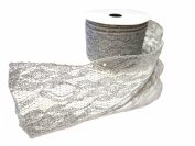 6.4cm X 10y Silver Glitter Wire Lace Ribbon By Kel-toy