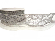 3.8cm X 10y Silver Glitter Wire Lace Ribbon By Kel-toy