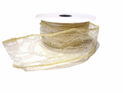 3.8cm X 10y Ivory Wire Lace Ribbon by Kel-Toy