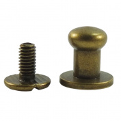 "Bluemoona 50 Sets - Head Button 6mm 1/4"" Brass Stud Screwback Screw Back Spots for Leather Rivet Bronze"