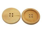 Amanaote Wood Button Round 35mm Diameter with 4 Holes for Craft Sewing DIY Pack of 20