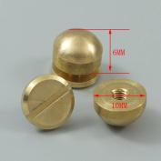 Bluemoona 20 Pcs - Solid Brass Screw Head Screw Back Feet 10MMX6MM Semi circle for Purse Handbag Nailheads Spike Spot Stud