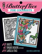 Hot Off the Press For Colorist Book - Butterflies - 14 Black & White Sheets of Heaav Card to Colour with Pens Pencils, Markers Gelatos