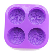 X-Haibei 4-Cavity Four Seasons Tree Soap Round Silicone Moulds Candle Making for Homemade
