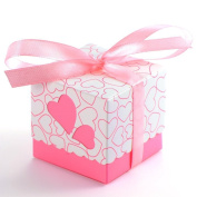 Tinksky 100pcs Novelty Double Hollow Love Heart Design Wedding Favour Candy Boxes Gift Boxes with Ribbons