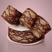 2-1/2 X 10YD BROWN FLORAL LACE BURLAP RIBBON