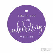 Andaz Press Circle Gift Tags, Thank You For Celebrating With Us, Purple, 24-Pack, Round Thanks Tag For Baby Bridal Wedding Shower, Anniversary Celebration, Graduation, Outdoor Event, Picnic, Luau, Christmas Hanukkah Holiday Party, Sweet 16 Quinceanera ..