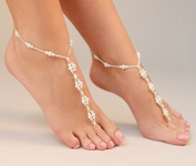 Vintage Pearls Bride Ankle Bracelet Crochet Anklets for Women Barefoot Sandals Beach Wedding Foot Jewellery Anklet