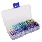 Beadnova 6mm 500pcs Tiny Satin Lustre Glass Pearl Round Beads Assortment Mix Lot for Jewellery Making - Set M02