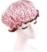 Huachnet Waterproof Double Layers Women's Shower Caps -Pink Dot