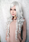 Weeck Anime Long Curly Silver White Women Wave Cosplay Party Wig