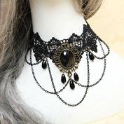 Lvxuan Gothic Jewellery Black Lace Necklaces & Pendants Short Choker Necklace Women Accessories False Collar Statement Necklace