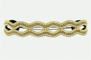 """Pink Pewter Authentic """"Channel"""" Gold Beaded and Rhinestone Stretch Band Headband Hair Jewellery"""
