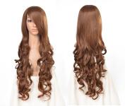 Besgo 80cm High Quality Silk Female Big Wave Cosplay Wig with Wig Cap Brown