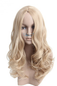 Angelaicos Womens Natural Looking Central Parting Wavy Curly Straight Daily Wear Hair Full Wig Long