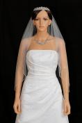 1T 1 Tier Bicone Crystal Beaded Edge Wedding Veil - white Fingertip Length 90cm V290