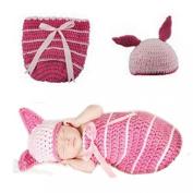 Towallmark(TM) Newborn Baby Pink Bunny Sleep Bag Knit Hat Costume Photography Prop Suit