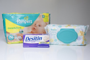 Nappies Bundle - Includes Pampers Swaddlers Size Newborn, Pampers Sensitive Wipes and Desitin Nappy Rash Cream