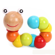 19cm Cute Baby Kids Twist Caterpillars Wooden Toy Infant Creative Educational Gift