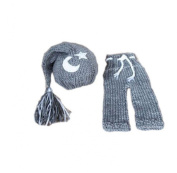 Pinbo Baby Photography Prop Crochet Knitted Grey Moon Star Hat Pants