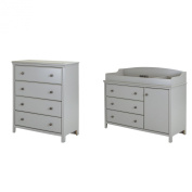 South Shore Cotton Candy Changing Table and 4-Drawer Chest, Soft Grey