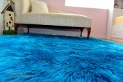 Turquoise Teal Shaggy Rectangle Faux Fur Area Nursery Rugs Sheepskins Decors Plushfurever
