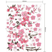 Pink Plum Flower Butterfly Living Room Bedroom Wall Stickers
